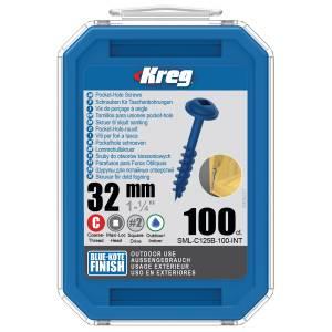 "Kreg SML-C125B-100-EUR Blue-Kote Pocket-Hole Screws - 32mm / 1.25"", #8 Coarse-Thread, Maxi-Loc - 100 Pack"