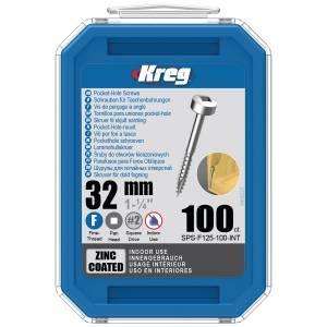 "Kreg SPS-F125-100-EUR Zinc Pocket-Hole Screws - 32mm / 1.25"", #6 Fine-Thread, Pan Head - 100 Pack"