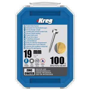 "Kreg SPS-F075-100-EUR Zinc Pocket-Hole Screws - 19mm / 0.75"", #6 Fine-Thread, Pan Head - 100 Pack"