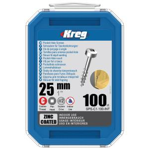 "Kreg SPS-C1-100-EUR Zinc Pocket-Hole Screws - 25mm / 1.00"", #7 Coarse-Thread, Pan Head - 100 Pack"