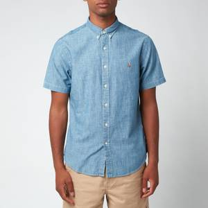 Polo Ralph Lauren Men's Cotton Short Sleeve Shirt - Medium Indigo