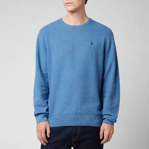 Polo Ralph Lauren Men's Cotton Mesh Crewneck Jumper - Blue Stone Heather