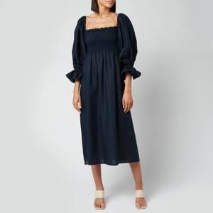 Sleeper Women's Atlanta Linen Dress - Navy