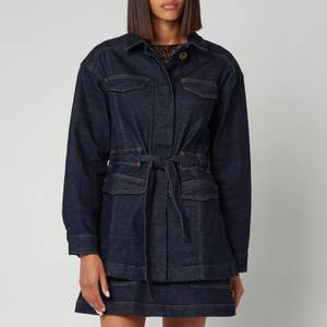 Ted Baker Women's Gellier Raw Denim Tie Waisted Utility Jacket - Dark Blue