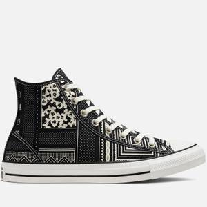 Converse Chuck Taylor All Star Geometric Patchwork Hi-Top Trainers - Black/Vintage White/Black