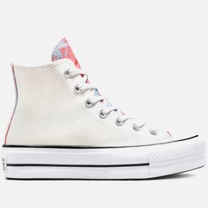Converse Women's Chuck Taylor All Star Hybrid Shine Lift Hi-Top Trainers - White/Pink Salt/Black