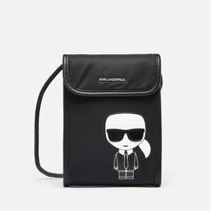 KARL LAGERFELD Women's K/Ikonik Nylon Phone Cross Body Bag - Black