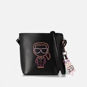 KARL LAGERFELD Women's K/Ikonik Biarritz Small Bucket Cross Body Bag - Black