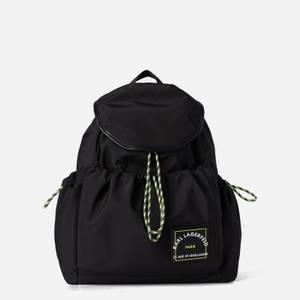 KARL LAGERFELD Women's Rsg Patch Nylon Draw Backpack - Black