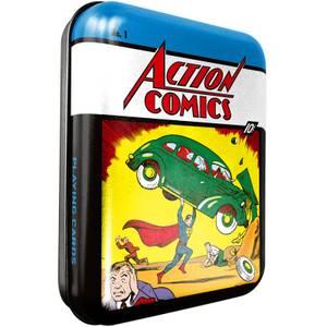 DC Retro Action Comic Spielkarten & Dose für Sammler