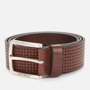 BOSS Men's Non Reversible Casual Print Belt - Dark Brown