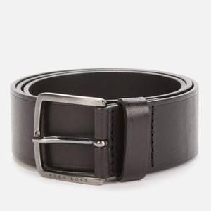 BOSS Men's Brushed Gunmetal Buckle Belt - Black