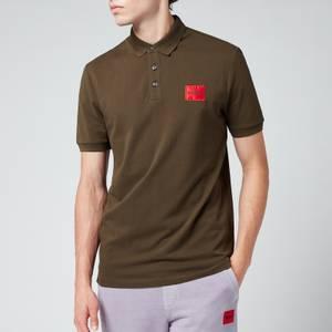 HUGO Men's Slim Fit Logo Patch Pique Polo Shirt - Dark Green
