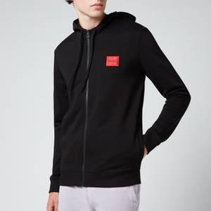 HUGO Men's Zip-Through Logo Patch Hoodie - Black