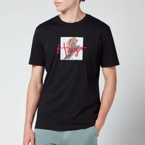 HUGO Men's Center Logo Crewneck T-Shirt - Black