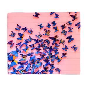 Girly Butterfly Crowd Fleece Blanket