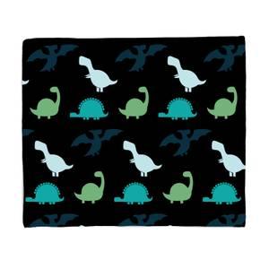 Dino Silhouette Pattern Fleece Blanket