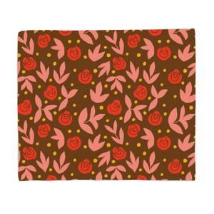 Retro Roses Fleece Blanket
