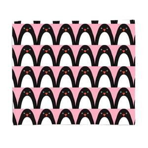 Pink Penguins Fleece Blanket