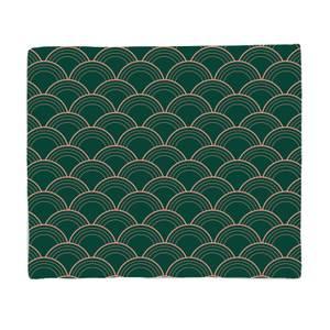 Chinese Fan Pattern Pink & Green Pattern Fleece Blanket
