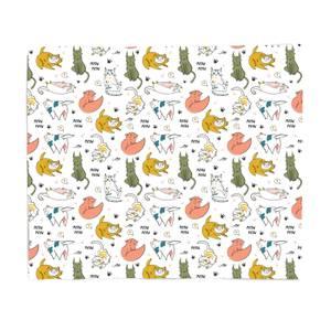 Colourful Cat Pattern Fleece Blanket