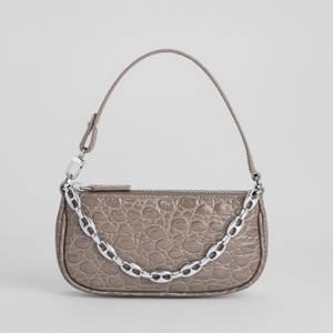 BY FAR Women's Mini Rachel Croco Shoulder Bag - Mud