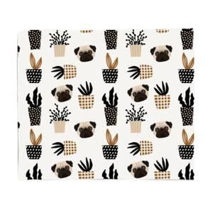 Pug & Cactus Fleece Blanket