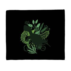 T-Rex Silhouette Foliage Fleece Blanket