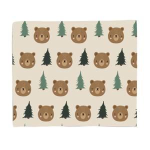 Bear And Forest Pattern Fleece Blanket