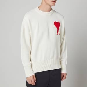 AMI Men's Oversized De Coeur Logo Jumper - White