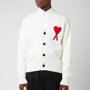 AMI Men's Oversized De Coeur Logo Cardigan - White