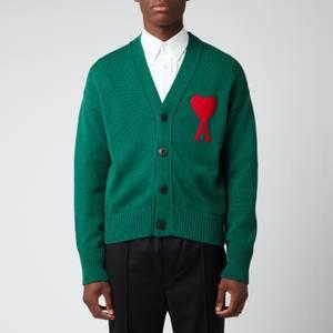 AMI Men's Oversized De Coeur Logo Cardigan - Green