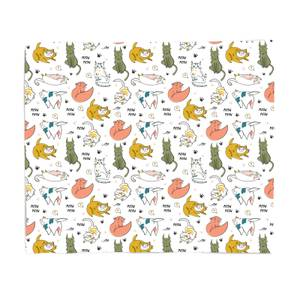 Colourful Cat Pattern Bed Throw