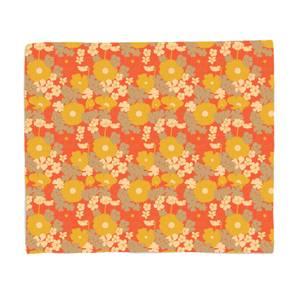 60s Orange Floral Bed Throw