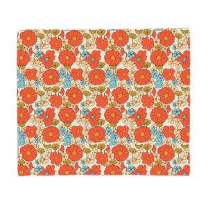60s Flowers Bed Throw
