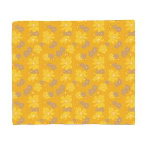 Yellow 60s Flower Bed Throw