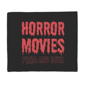 Horror Movie Pizza And Beer Bed Throw