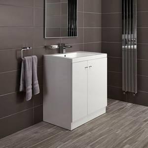 Alpine Duo 750mm Basin and Floorstanding Vanity Unit - Gloss White