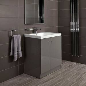 Alpine Duo 750mm Basin and Floorstanding Vanity Unit - Gloss Grey