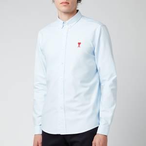 AMI Men's Button Down De Coeur Shirt - Oxford Blue