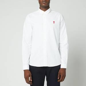 AMI Men's Button Down De Coeur Shirt - White