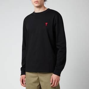 AMI Men's De Coeur Long Sleeve T-Shirt - Black