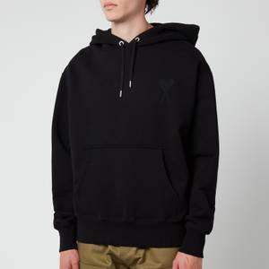 AMI Men's Oversized De Coeur Logo Hoodie - Black