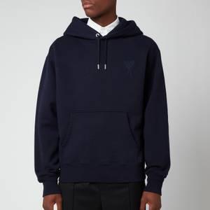 AMI Men's Oversized De Coeur Logo Hoodie - Navy