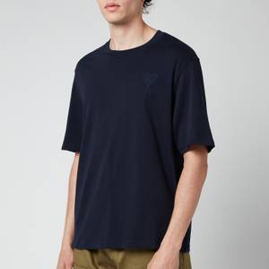 AMI Men's Oversized De Coeur Logo T-Shirt - Navy