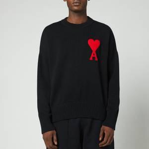 AMI Men's Oversized De Coeur Logo Jumper - Black