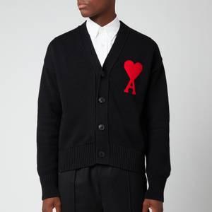 AMI Men's Oversized De Coeur Logo Cardigan - Black