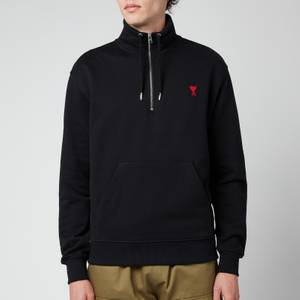 AMI Men's De Coeur Quarter Zip Sweatshirt - Black