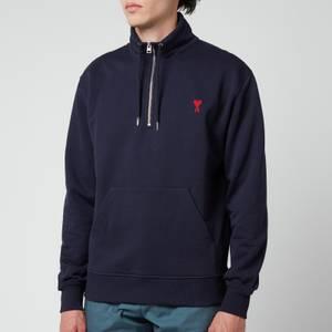 AMI Men's De Coeur Quarter Zip Sweatshirt - Navy