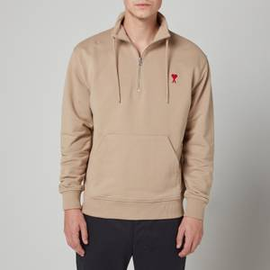 AMI Men's De Coeur Quarter Zip Sweatshirt - Beige